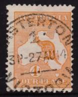 Australia 1913 Kangaroo 4d Orange 1st Watermark Used - CASTERTON, VIC - Used Stamps