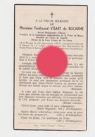 Comte Ferdinand Visart De Bocarmé Bourgmestre Emines  La Bruyère Bruges 1859 - Namur 1952 - Décès