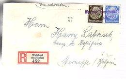 R-Weichsel (Oberschlesien) Wisła Polska 1940 To België, Front Only (667) - Briefe U. Dokumente
