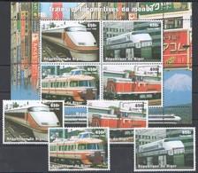 G488 1998 DU NIGER TRANSPORTATION TRAINS ET LOCOMOTIVES DU MONDE 1KB+1SET MNH - Trains