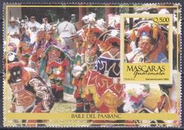 Guatemala 2003 Brauchtum Traditionen Folklore Traditions Tanzmasken Masken Masks Tanz Tanzen Dancing Paabanc, Bl. 34 ** - Guatemala