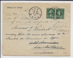 1909 - SEMEUSE De FRANCE UTILISEE AU MAROC - ENVELOPPE Du CONSULAT DE FRANCE à FEZ  => AIX LES BAINS - Marcofilie (Brieven)
