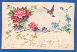 Blumen; Fleurs; Art Nouveau; Prägekarte; Gaufrée; 1902 Stempel Bredstedt - Blumen