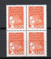 - FRANCE Variétés N° 3089 - 4 X 1 F. Orange Marianne De Luquet 1997 - BANDE DE PHOSPHORE A GAUCHE - - Errors & Oddities