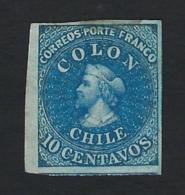 CHILE 1861 COLUMBUS ISSUE 10c BLUE - Chili