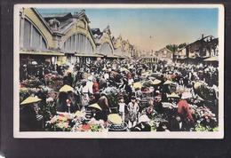 CPSM VIET NAM - INDOCHINE - NORD VIETNAM - HANOI - Devant Les Halles Centrales - Le Marché Aux Fleurs TB ANIMATION - Viêt-Nam