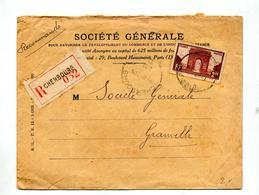 Lettre Recommandee Cherbourg Sur Arc De Triomphe Entete Societe Generale - Postmark Collection (Covers)