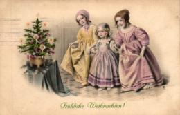 Weihnachten, Kinder, Christbaum, Um 1910 - Noël