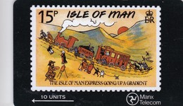 Isle Of Man, MAN 026, 10 Units, Iom Express, Stamp On Card, Train., 2 Scans . - Isola Di Man