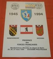 FRANKREICH BERLIN 2904 Olympiade Barcelona --- Sonderblatt 25.-27.03.1994 Presence Des Forces  (2 Foto)(50546) FFF - France
