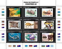 SIERRA LEONE 2019 - Fauna On Stamps A2. Official Issue. - Postzegels Op Postzegels