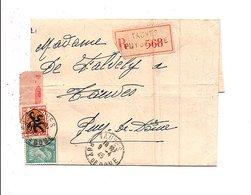 AFFRANCHISSEMENT COMPOSE SUR PLI DE TAUVES PUY DE DOME 1945 - Marcophilie (Lettres)