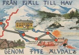 AK MAP, Landkarte, Umgebungskarte **FRÄN FJÄLL TILL HAV GENOM PITE ÄLVTAL** - Sweden