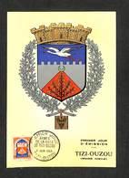 ALGÉRIE - Carte Maximum 1958 - PREMIER JOUR - ARMES DE LA VILLE DE TIZI-OUZOU - Algérie (1924-1962)