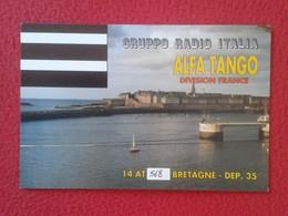 POSTAL TYPE POST CARD QSL RADIOAFICIONADOS RADIO AMATEUR GRUPPO ITALIA ALFA TANGO FRANCE BRETAGNE BRETAÑA FRANCIA PLAGE - Sin Clasificación