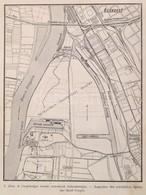 Cca 1910 Csepel és A Csepeli Szabad Kikötő Térképe 35x27 Cm - Cartes