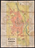 Cca 1939-1940 Kassa Tjh. Sz. Kir. Város Térképe, Utcajegyzékkel, Kiadja WIKO Litografiai és Könyvnyomdai Műintézet, 63x4 - Cartes