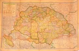 1942 Magyarország Közigazgatási Térképe 1918-ban Az 1942-es Határokkal. Tevr: Kogutowicz Manó 120x80 Cm Kis Szakadásokka - Cartes