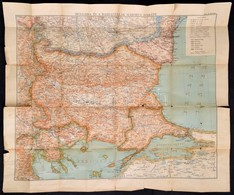 Cca 1915 Bulgária és A Dardanellák Háborús Térképe 80x60 Cm - Cartes