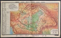 Cca 1930 Magyarország és A Trianoni Határik. Népesség, Domborzat. 50x30 Cm - Cartes