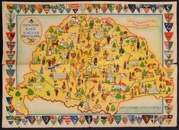 Cca 1930 Emlékezzünk Nagymagyarországról Térkép Hátoldalán Az Elcsatolt Vármegyék Adataival. Hajtásnál Beszakadásokkal , - Cartes