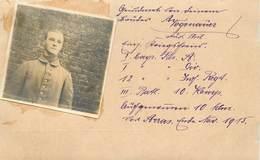 GUERRE 1914/18 -  Portrait De Soldat Allemand à Arras, Photo En 1915 Collée Sur Un Support Format Carte Ancienne. - Guerre 1914-18