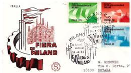 FDC FIlagrano: FIERA DI MILANO 1972 ;raccomandata ; AS_Milano - 1946-.. Republiek