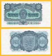 Czechoslovakia 3 Korun P-79a 1953 UNC Banknote - Tchécoslovaquie