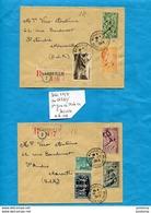 Marcophilie-2 Lettres Recommandées -cad- 19-12- 1949- Premier Jour Mise En Vente- Série 4 Saisons N° 859-62 - Marcophilie (Lettres)
