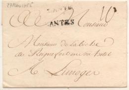 Lettre Du 27 Mars 1756 De Nantes Pour Limoges - Marques De Nantes En Double ( 27X4 ) + Taxe Manuscrite 10 - 1701-1800: Précurseurs XVIII