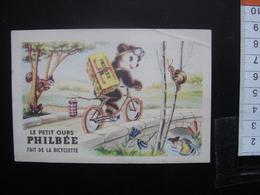 Chromo Ancienne PHILBEE Dijon Pains Epices Vintage LE PETIT OURS Fait De La Bicyclette - Chromos