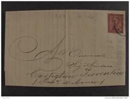 """4363 ITALIA Regno-1865- """"L 15 Londra"""" C. 2  MILANO>CASTIGLION FIORENTINO (descrizione) - 1861-78 Vittorio Emanuele II"""