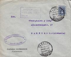 Spain PARADA HERMANOS, PASAJES (Guipúzcoa) 1925 Cover Letra HAMBURG Germany Alphonse XIII. - 1889-1931 Königreich: Alphonse XIII.