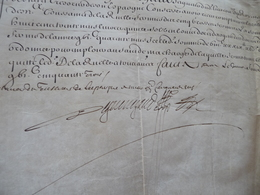 Pièce Signée Velin Dequenegaud Reçu 1653 Piemont Armée D'Italie - Autógrafos