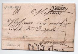 1749 - LETTRE D'ANTIBES (ALPES MARITIMES / VAR) Avec MP MANUSCRITE LENAIN N° 1 - Marcophilie (Lettres)