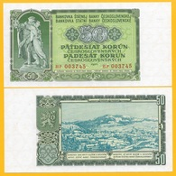 Czechoslovakia 50 Korun P-85b 1953 UNC Banknote - Tchécoslovaquie