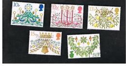 GRAN BRETAGNA (UNITED KINGDOM) -  SG 1138.1142 -  1980 CHRISTMAS (COMPLET SET OF 5)     - USED - Usati