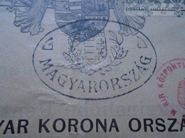 "ZA192.43 Hungary  Járadékkölcsön 1903  -200 Korona - Overstamped With ""Magyarország"" Nostrification Handstamp In 1920 - Shareholdings"
