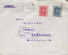 Spain WESTPHALEN Hnos. TMS Cds. BARCELONA 1927 Cover Letra HAMBURG Germany 2-Colour 2-Farbe Alphonse XIII. Franking - 1889-1931 Königreich: Alphonse XIII.