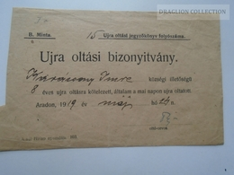ZA192.44 Hungary  Re-vaccination Certificate Arad  1919 Karácsony Imre - Shareholdings