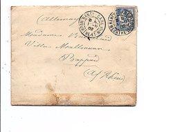 SAGE SUR LETTRE DE NANCY GARE POUR L'ALSACE DU 1/11/1902 - 1877-1920: Période Semi Moderne