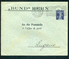 """Schweiz / 1915 / Privatganzsachenumschlag """"BUND"""", Masch.-Stempel Bern (12515) - Ganzsachen"""