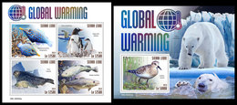 SIERRA LEONE 2019 - Global Warming, Birds. M/S + S/S Official Issue. - Vogels