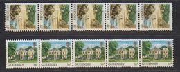 Guernsey 1988 Definitives Views Coil Stamps 2v Strip Of 5 ** Mnh (42399) - Guernsey