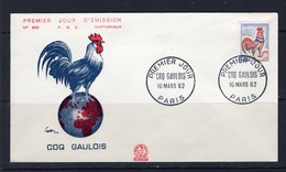 19/4 France FDC Coq Gaulois 10 Mars 1962 Haan Hen - Gallinacées & Faisans