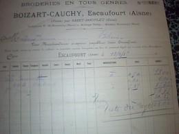 Facturei Broderie En Tout Genre Boizard_ Cauchy Annèe 1919  Usine A Escaufourt  (aisne) Poste Par St Souplet (nord) - Textile & Clothing