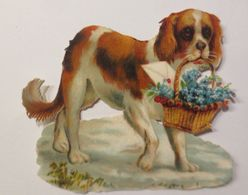Oblaten, Hund, Bernhardiner, Korb, Blumen,  1900,   8 Cm X 7 Cm ♥  - Victorian Die-cuts
