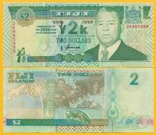 Fiji 2 Dollars P-102 2000 Millenium Commemorative UNC Banknote - Fidji
