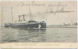 Ligne Ostende Oostende Douvres La Nouvelle Malle à Turbines, Editions E.L. N°B. 5881, A Circilé En 1906, Très Bon état - Sonstige
