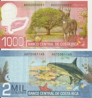 Costa Rica Banknotes 1000 & 2000 Colones With Deer And Shark - Costa Rica